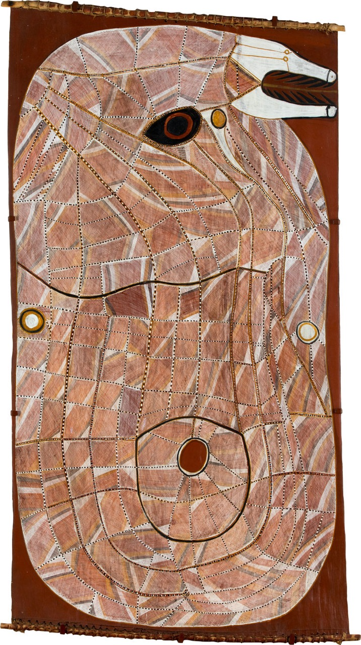 JOHN MAWURNDJUL , born 1952  Ngalyod ,1999, 163 x 88 cm