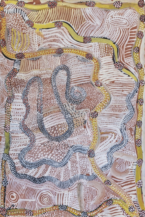 JOHNNY WARANGULA , circa 1932-2001,  Water Dreaming at Kalipinypa , 1972, 48 x 32cm,  SOLD BY TIM KLINGENDER FINE ART FOR $200,000 AUD