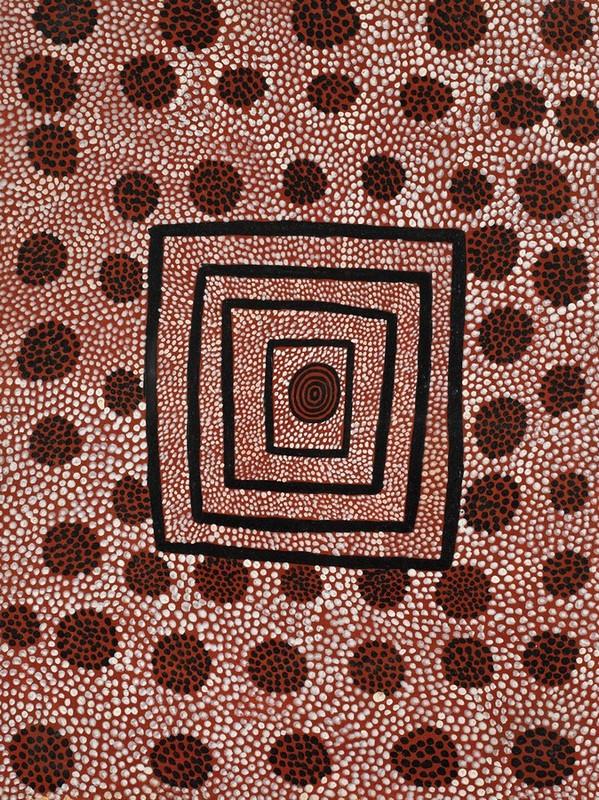 ANATJARI TJAKAMARRA , circa 1938-1992,  Tinikutinupa - Kangaroo Rat Dreaming , 1973, 57.5 x 43 cm,  SOLD BY SOTHEBY'S AUSTRALIA FOR $61,000 AUD