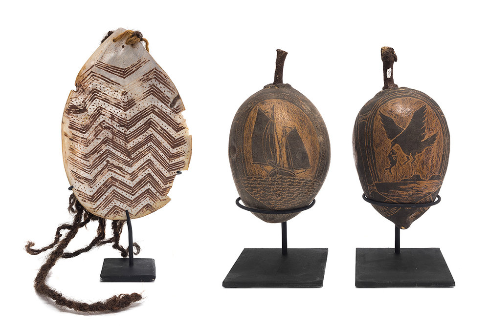 Several items scheduled for auction at Leski Auctions,  SIEZED BY VICTORAN ABORIGINAL HERITAGE COUNCIL FOR BEING SO-CALLED 'ANCESTRAL REMAINS' (LEFT) AND 'SECRET AND SACRED' OBJECTS (RIGHT).