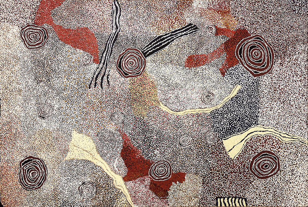 BILL WHISKEY TJAPALTJARRI ,  Rockholes and Country Near the Olga's , 2007, 205 x 300 cm   SOLD BY D'LAN DAVIDSON BY PRIVATE TREATY SALE IN 2018