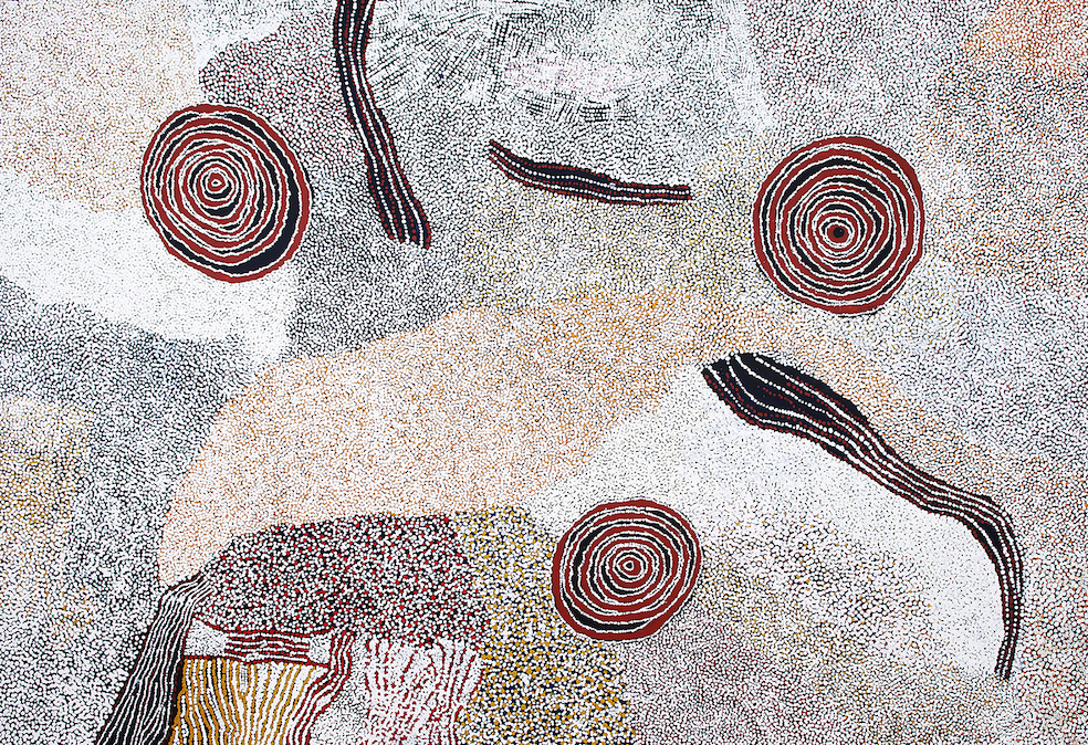 BILL WHISKEY TJAPALTJARRI ,  Rockholes and Country Near the Olga's , 2008, 183 x 270 cm  SOLD BY D'LAN DAVIDSON AT THE ANNUAL SALE IN 2017
