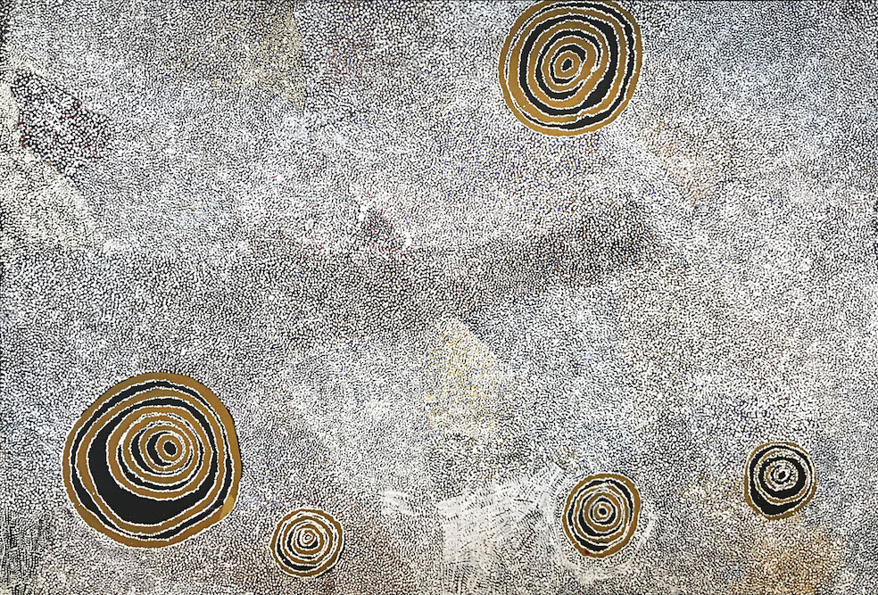 BILL WHISKEY TJAPALTJARRI ,  Rockholes and Country Near the Olga's , 2007, 182 x 270 cm   SOLD BY D'LAN DAVIDSON BY PRIVATE TREATY SALE IN 2019