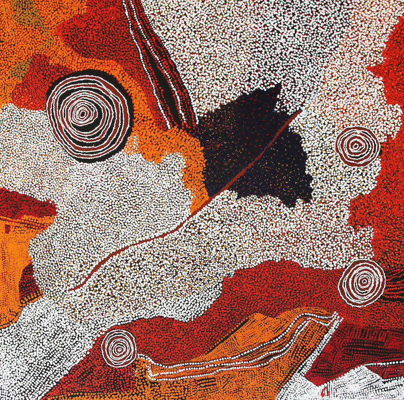 BILL WHISKEY TJAPALTJARRI ,  Rockholes and Country Near the Olga's , 2008, 182 x 183 cm   SOLD BY D'LAN DAVIDSON BY PRIVATE TREATY SALE IN 2019