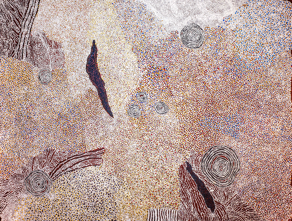 BILL WHISKEY TJAPALTJARRI,  Rockholes and Country Near the Olga's , 2008, 183 x 244 cm   TO BE OFFERED BY D'LAN DAVIDSON AT THE  SIGNIFICANT  EXHIBITION IN JUNE 2019