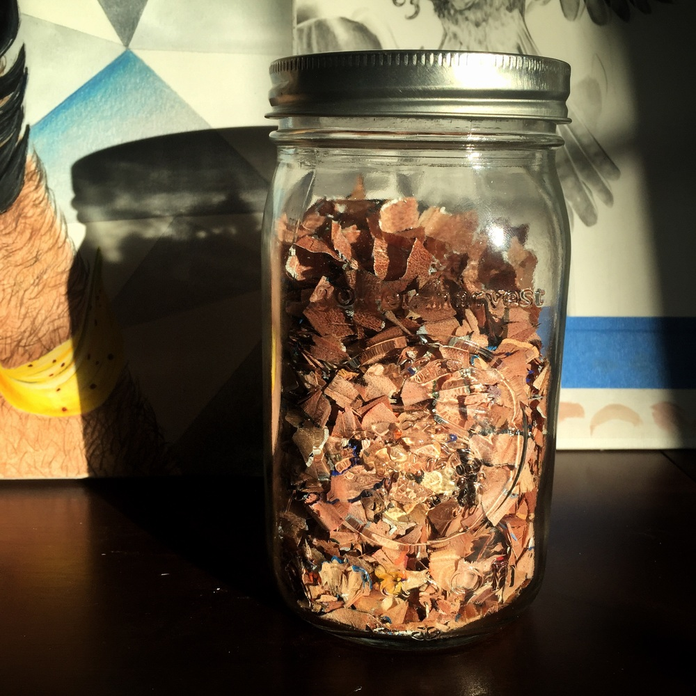 This jar holds all my pencil shavings from my last piece, which is essentially my work from all of January.