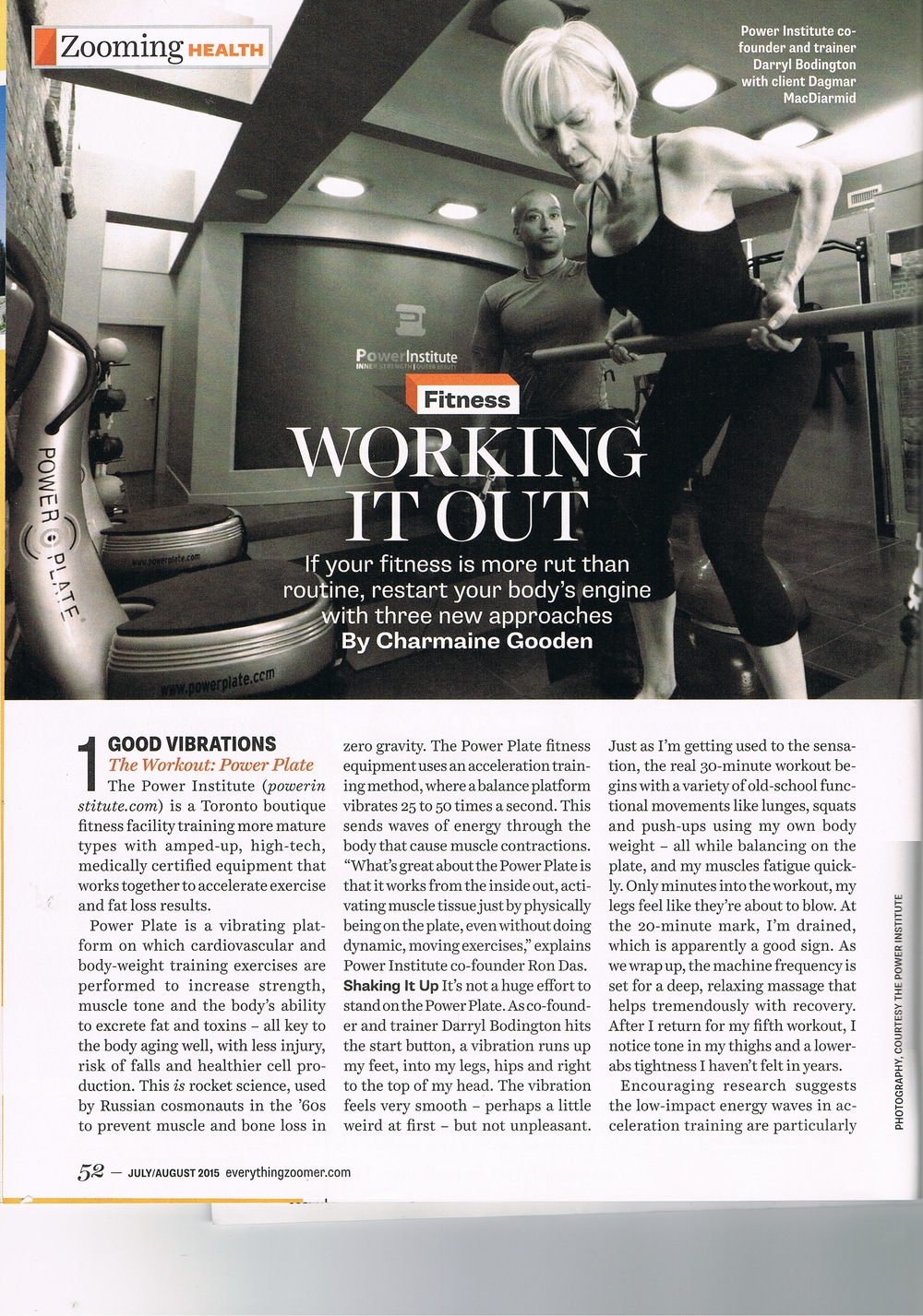 Double page spread about Power Institute Toronto's newest workout on the power plate system and Skin Fitness treatment for the skin by LPG in Zoomer Magazine Feature