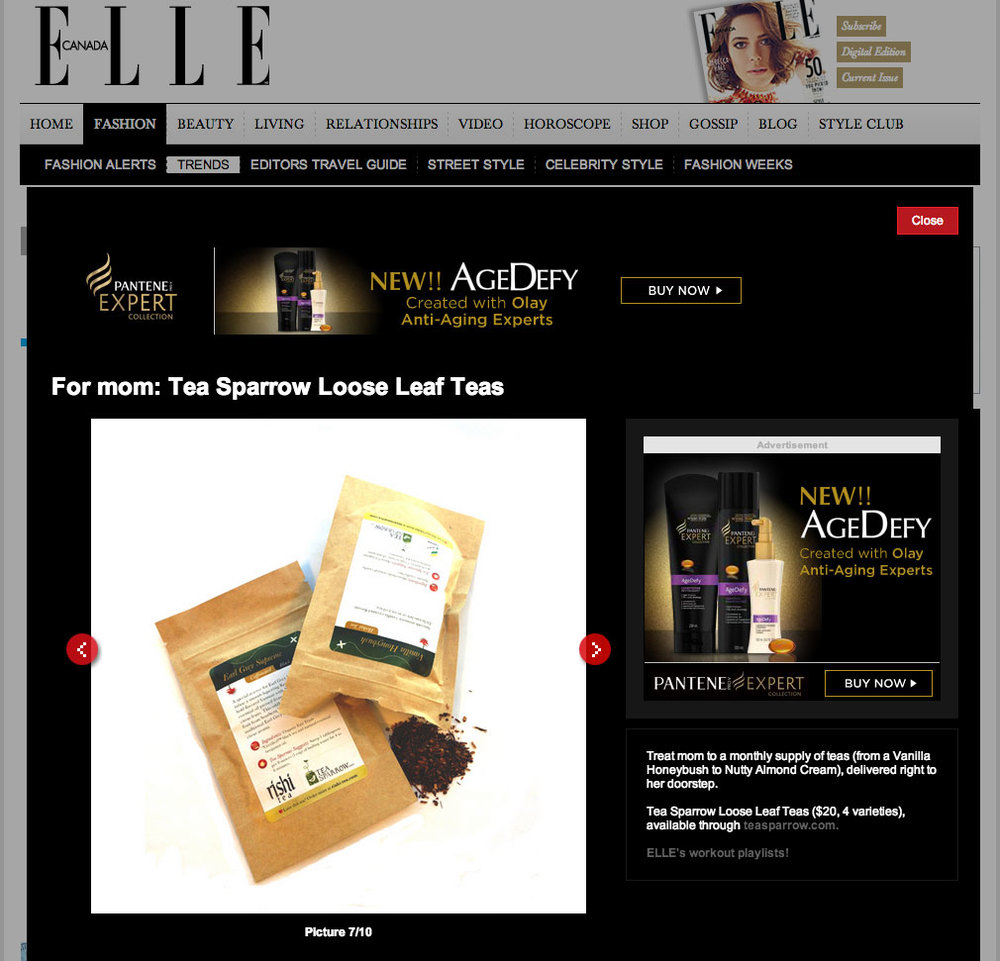 Teasparrow.com feature in Elle Canada Magazine.