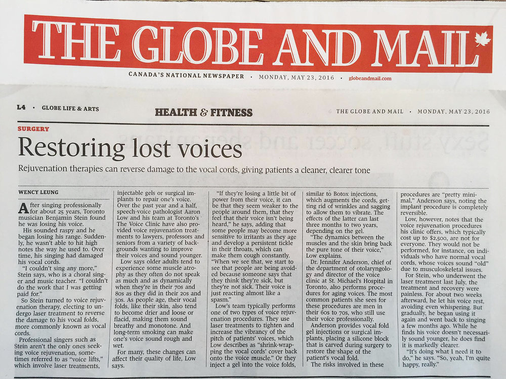 Globe and Mail  article, voice rejuvination