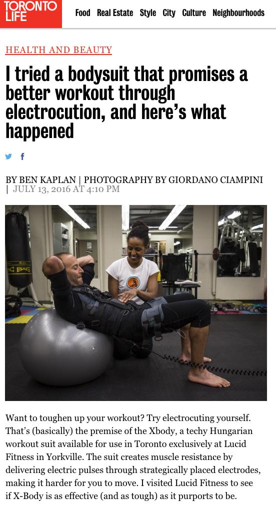 Lucid Fitness in Toronto Life Magazine