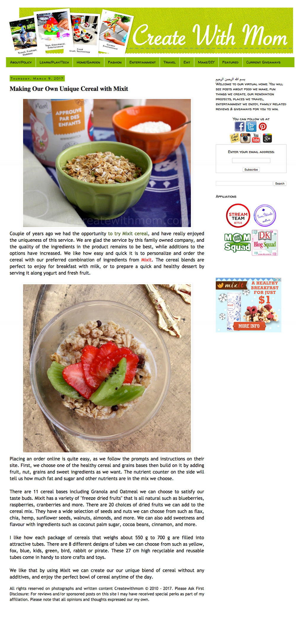 MixIt featured in  Create With Mom Blog