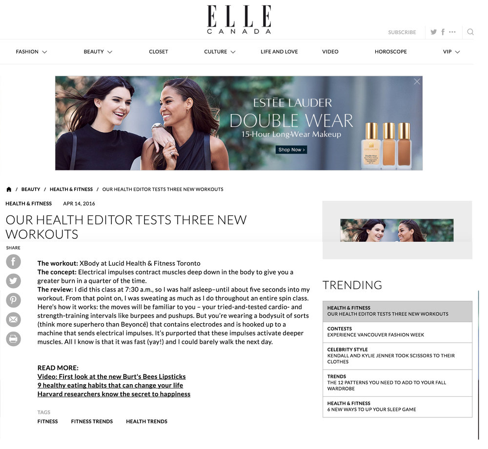 Lucid Health & Fitness featured in ELLE Canada. www.ellecanada.com