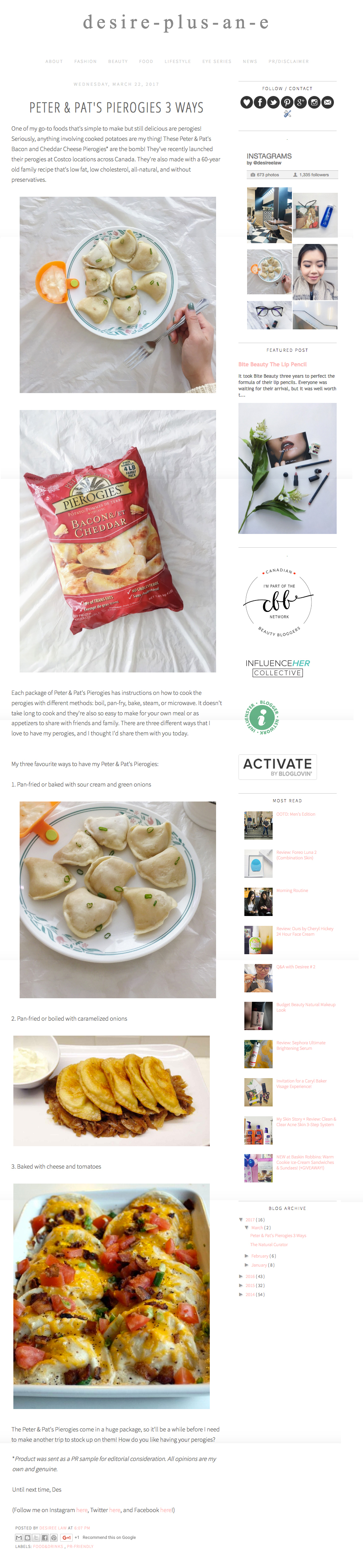 Peter & Pat's Pierogies featured in Desire-Plus-An-E. www.desireplusane.ca