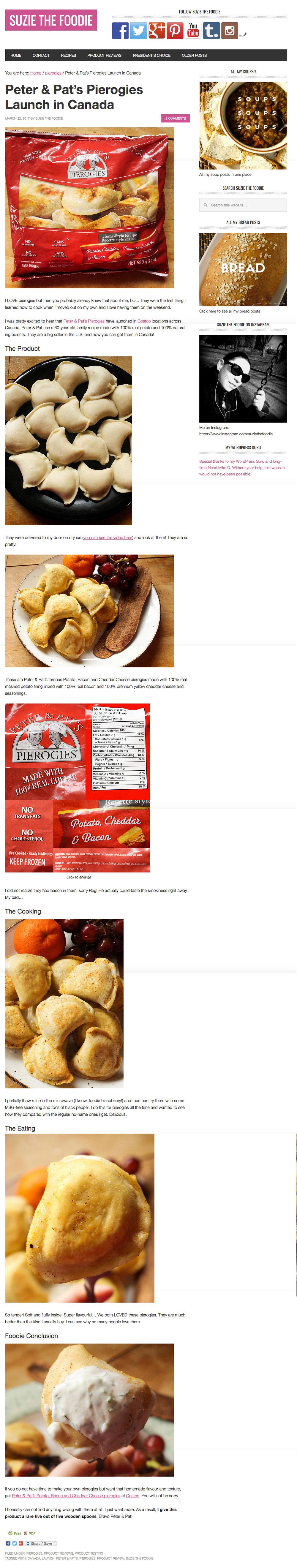 Peter & Pat's Pierogies featured in  Suzie The Foodie