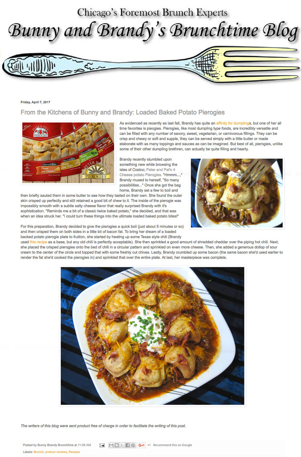 Peter & Pat's Pierogies featured on  Bunny and Brandy's Brunchtime blog