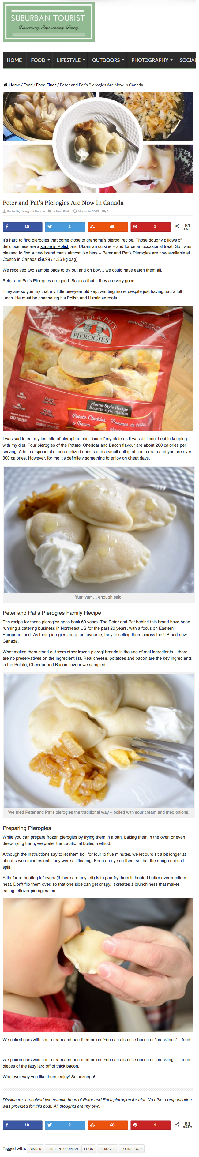 Peter & Pat's Pierogies Featured on Suburban Tourist. www.suburbantourist.ca