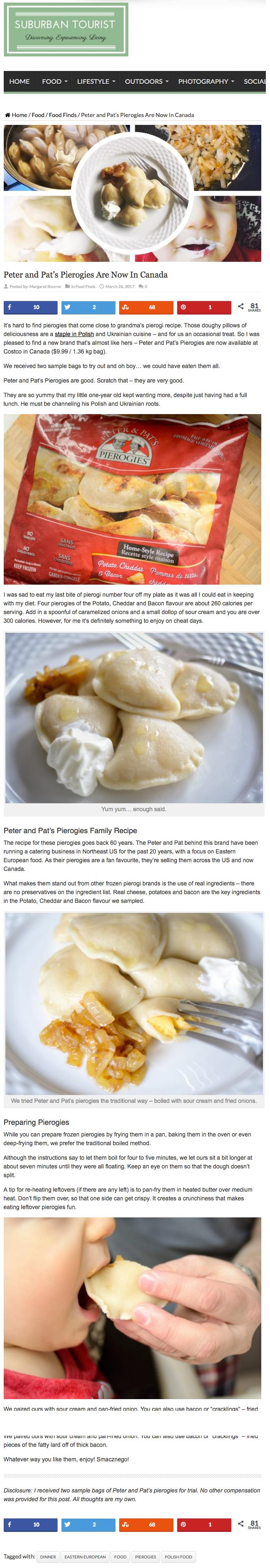 Peter & Pat's Pierogies Featured on  Suburban Tourist