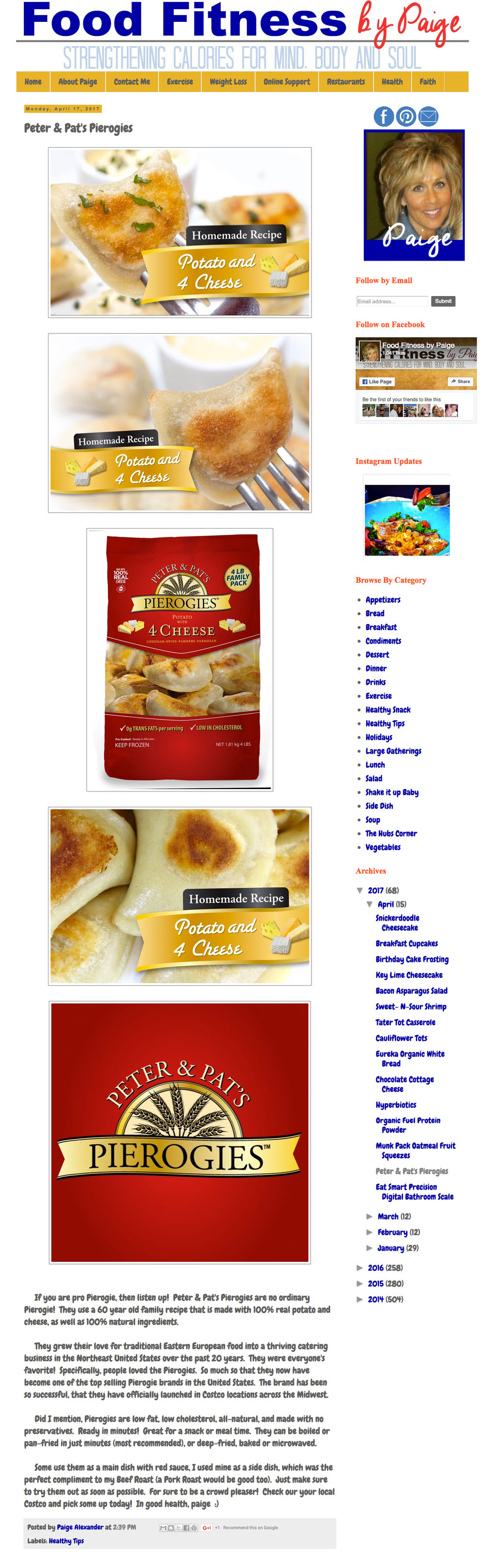 Peter & Pat's Pierogies featured on Food Fitness by Paige