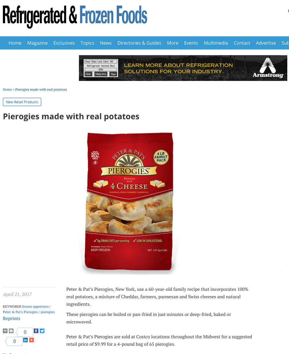 Peter & Pat's Pierogies featured in Refrigerated & Frozen Foods