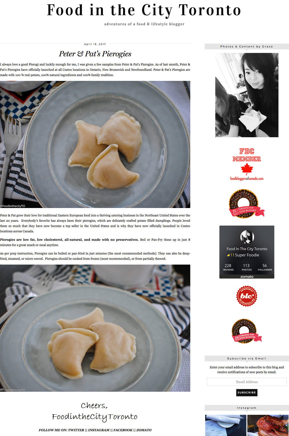 Peter & Pat's Pierogies featured in Food In The City Toronto