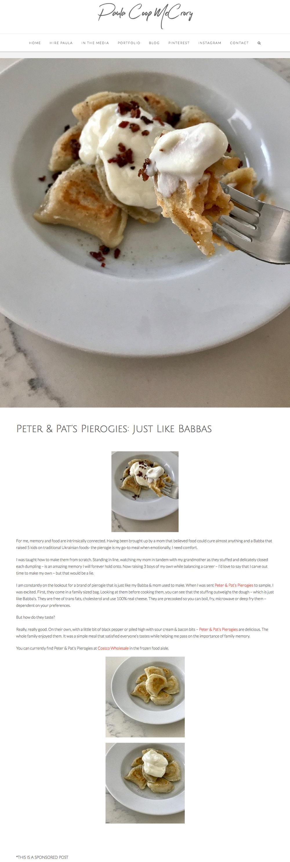 Peter & Pat's Pierogies featured in  Paula Coop McCrory Blog