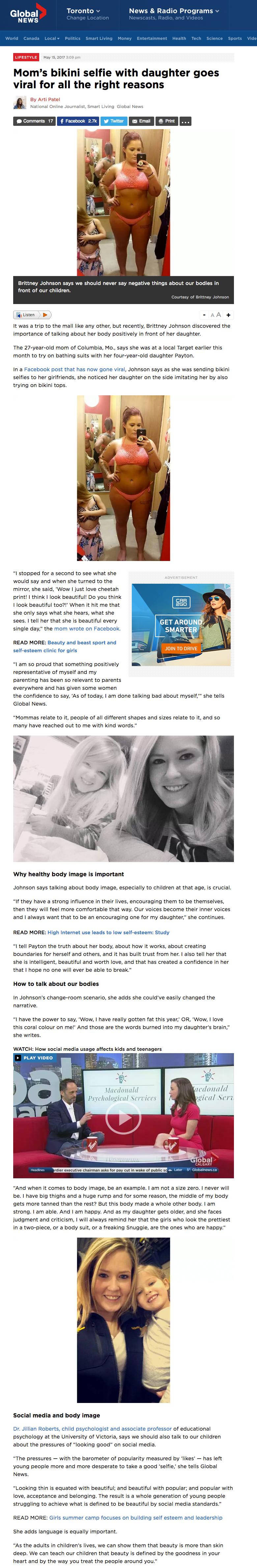 Dr. Jillian Roberts featured on  Global News .