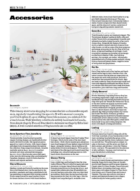 Anne Sportun featured in Toronto Life Stylebook