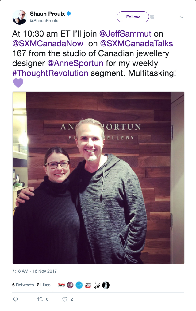 Anne Sportun mentioned on  Shaun Proulx's Twitter .