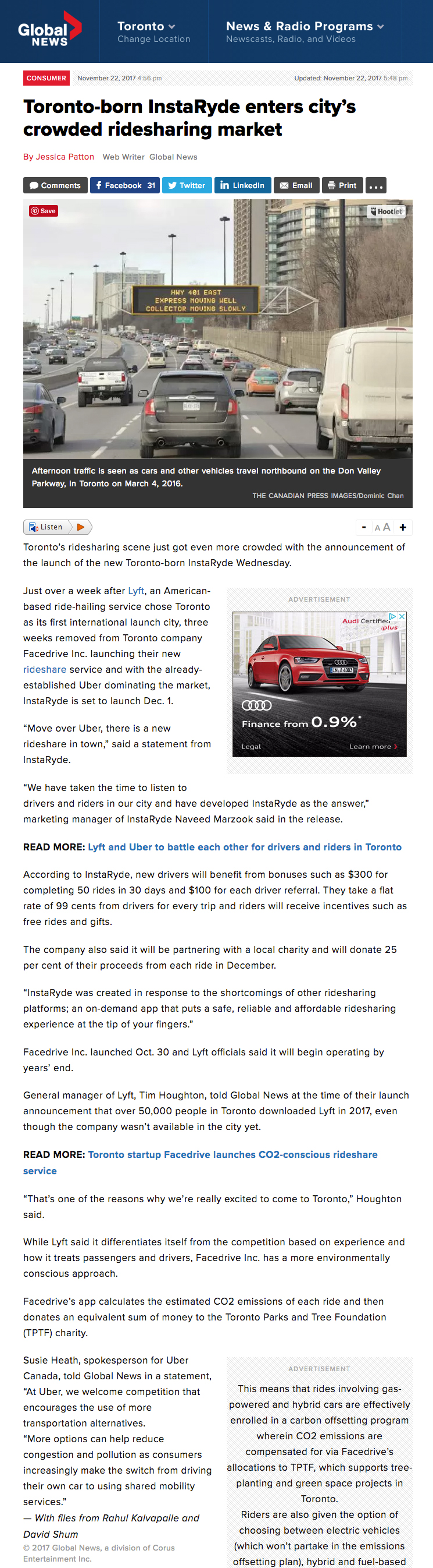 InstaRyde featured on Global News. www.globalnews.ca