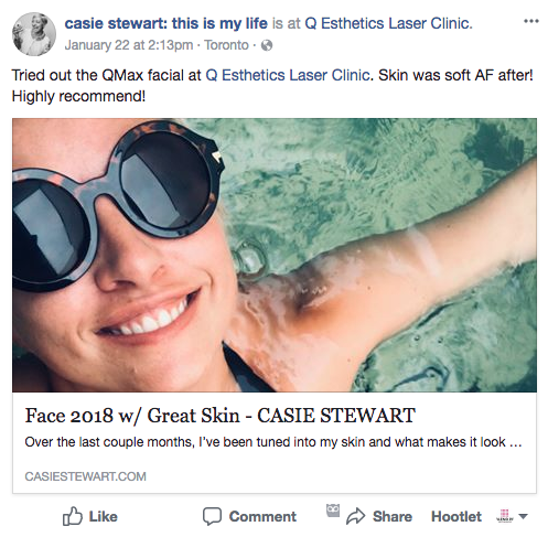 Q Esthetics featured on Cassie Stwart Facebook page.