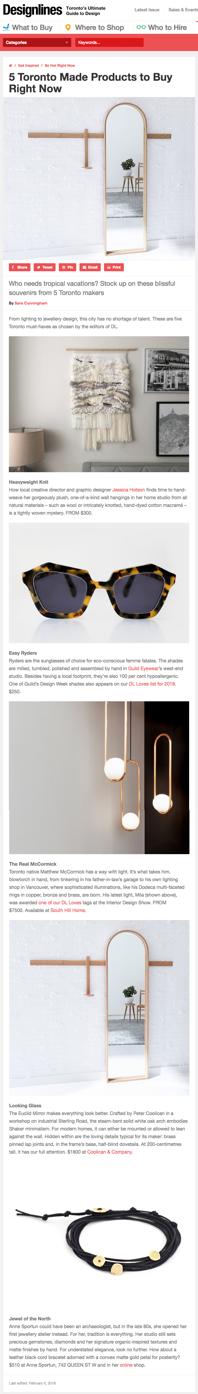 Anne Sportun featured on Designlines Magazine