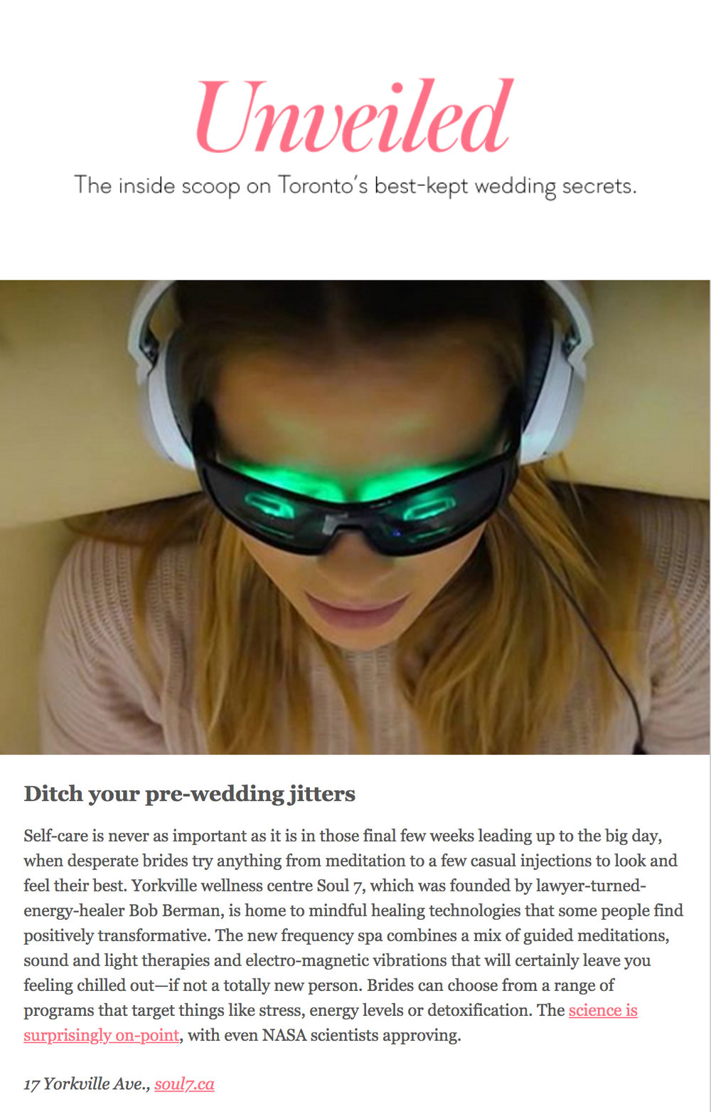 Soul 7 featured on  WeddingBells Unveiled .