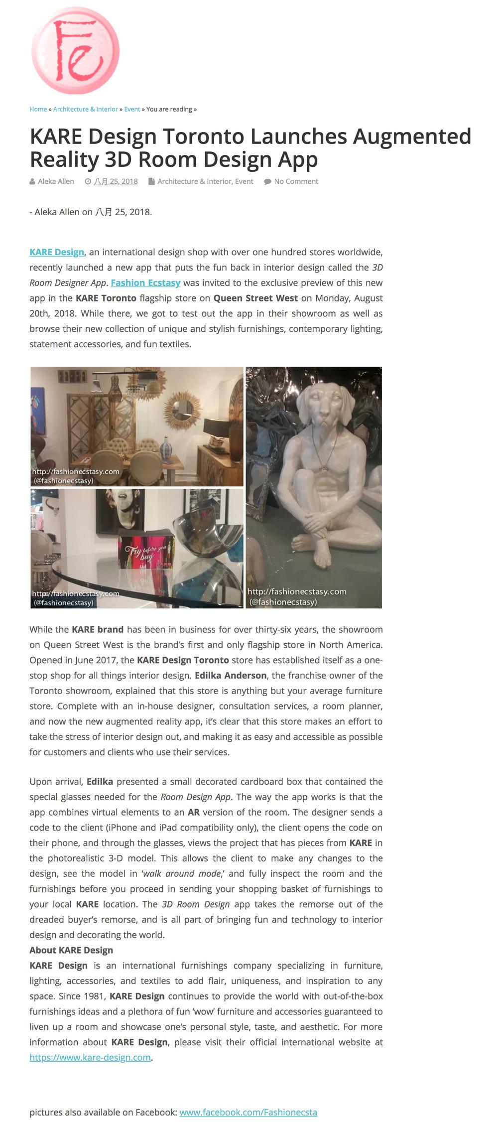 KARE Design Featured in  Fashion Ecstasy .