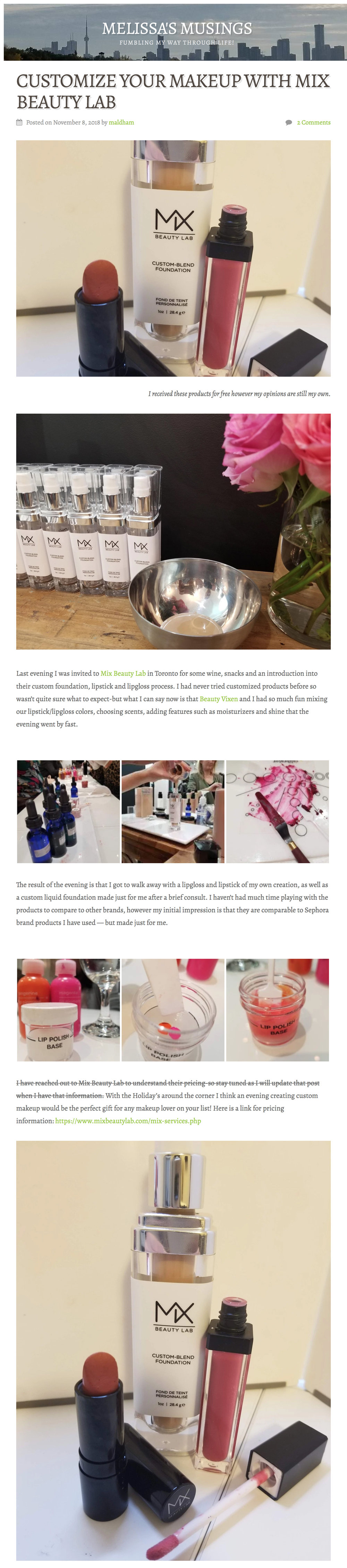 Mix Beauty Lab featured in  Melissa Musings Blog .