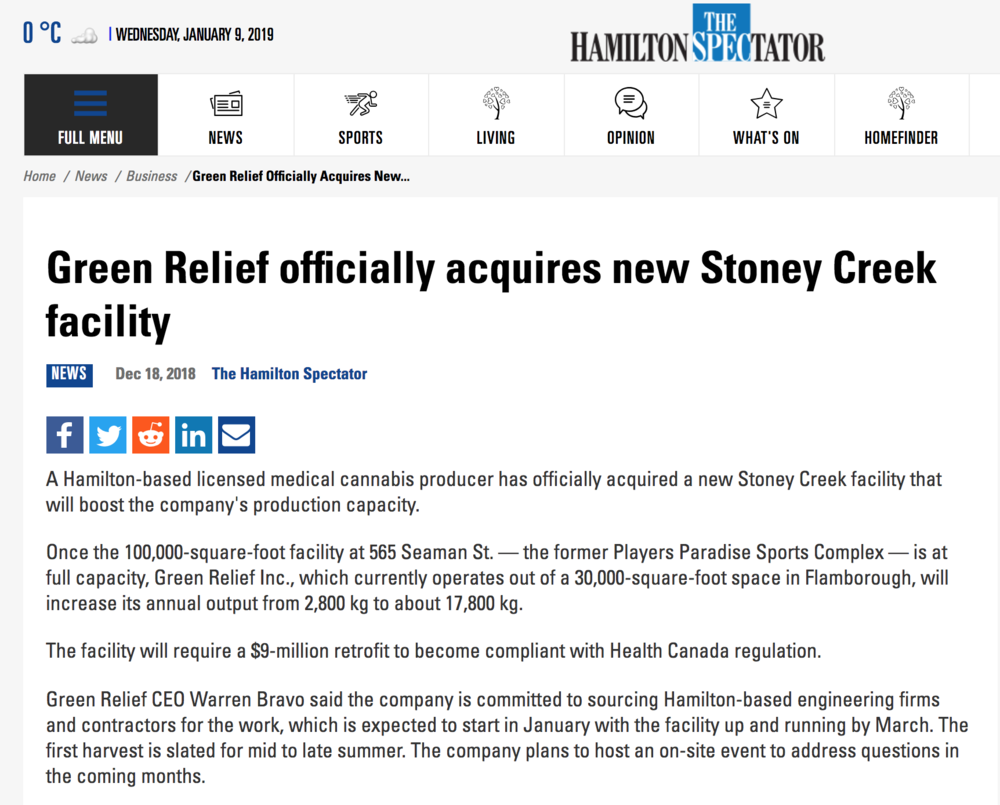 Green Relief featured on the  Hamilton Spectator .
