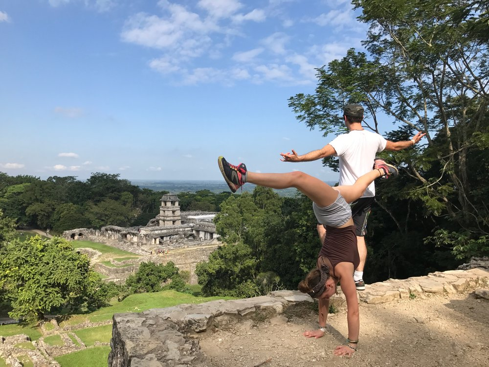 Mayan Ruins in Palenque, Mexico with a cool ass French girl