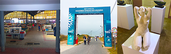 L to R: Open air market in South Beach, Nazaré, entrance to the lighthouse and overlook, statue in the surf museum