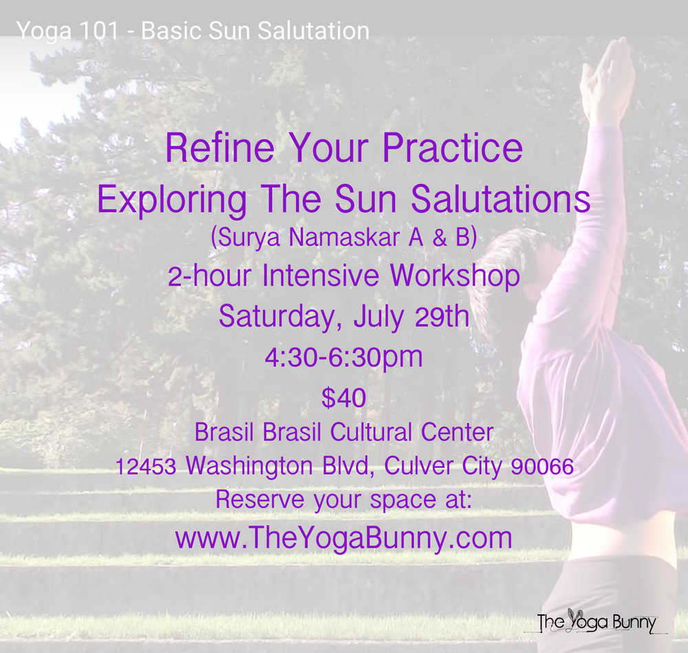 In this 2-hour workshop, we will break down both sun salutation a & B, while exploring transitions between postures. This workshop is essential for newcomers to yoga and those who want to refine their practice. Be prepared to sweat!  Sign up now!