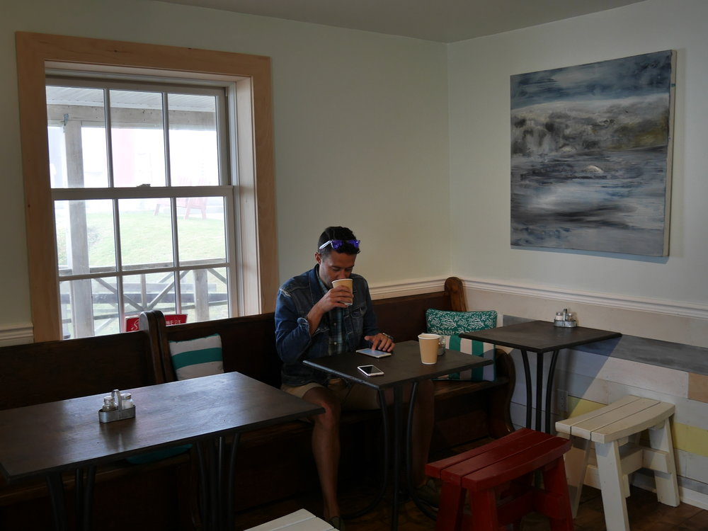 Trevor enjoys a coffee at the Keeper's Kitchen.