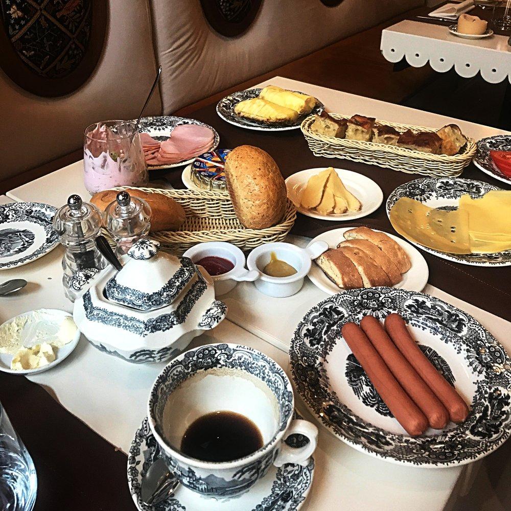 The large breakfast spread.