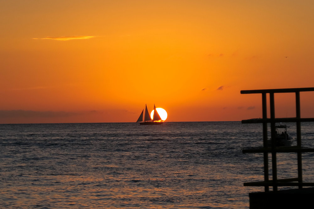 The perfect sunset at Mallory Square, downtown Key West.