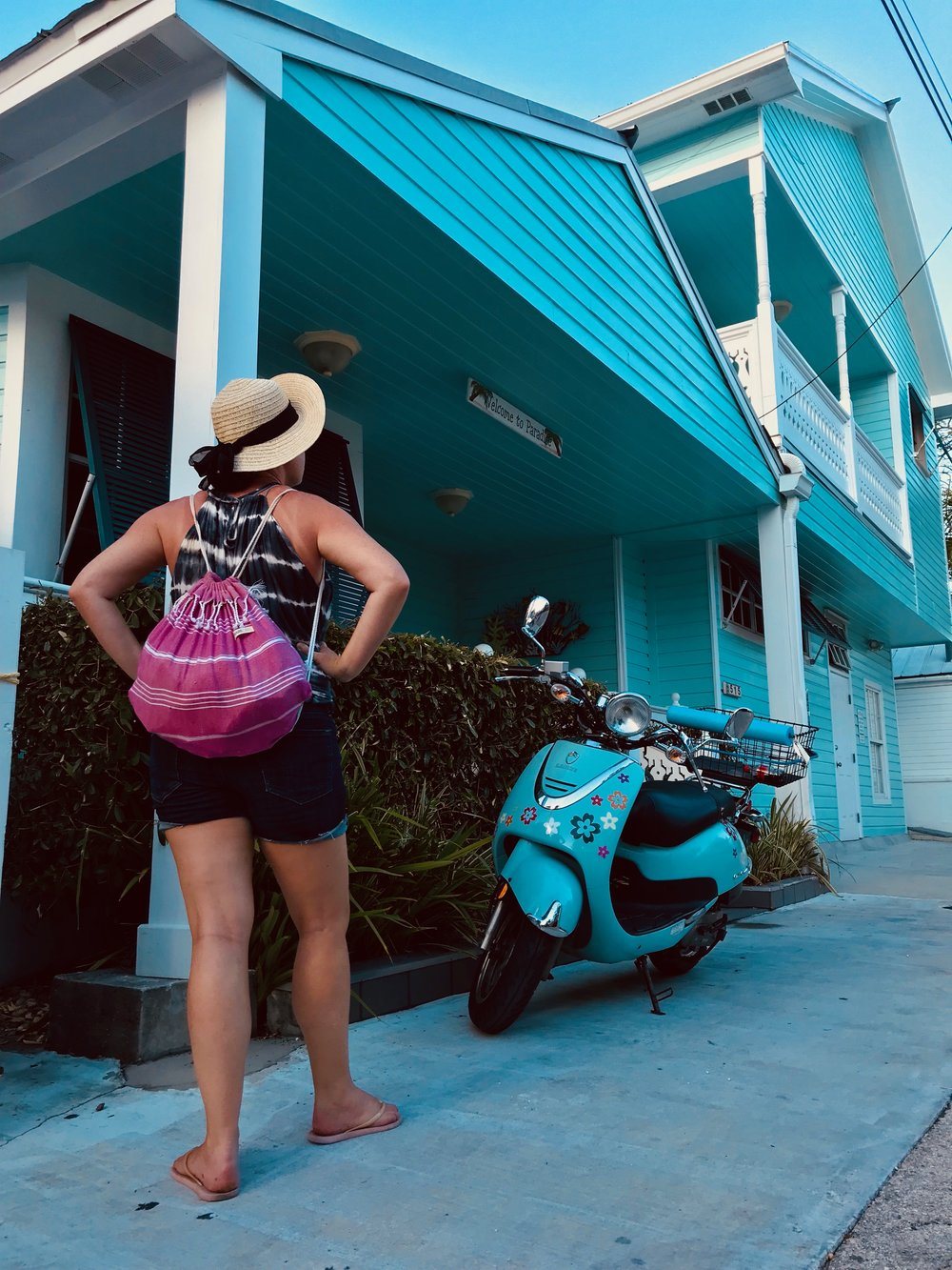Finding cute blue themes in Downtown Key West.