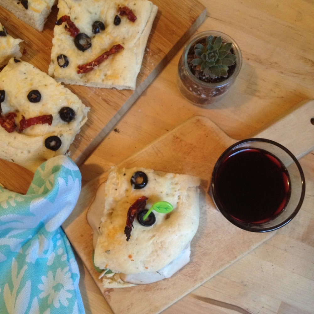 I sandwiched one piece and poured myself a glass of sangria. Awesome for summer!