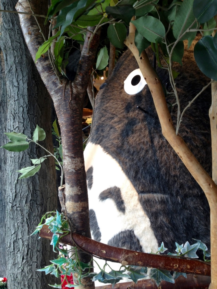 There's a huge Totoro at the shop's entrance.