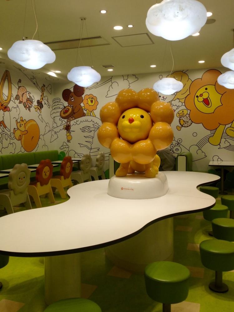 'Pon de Lion' statue inside Mister Donut!