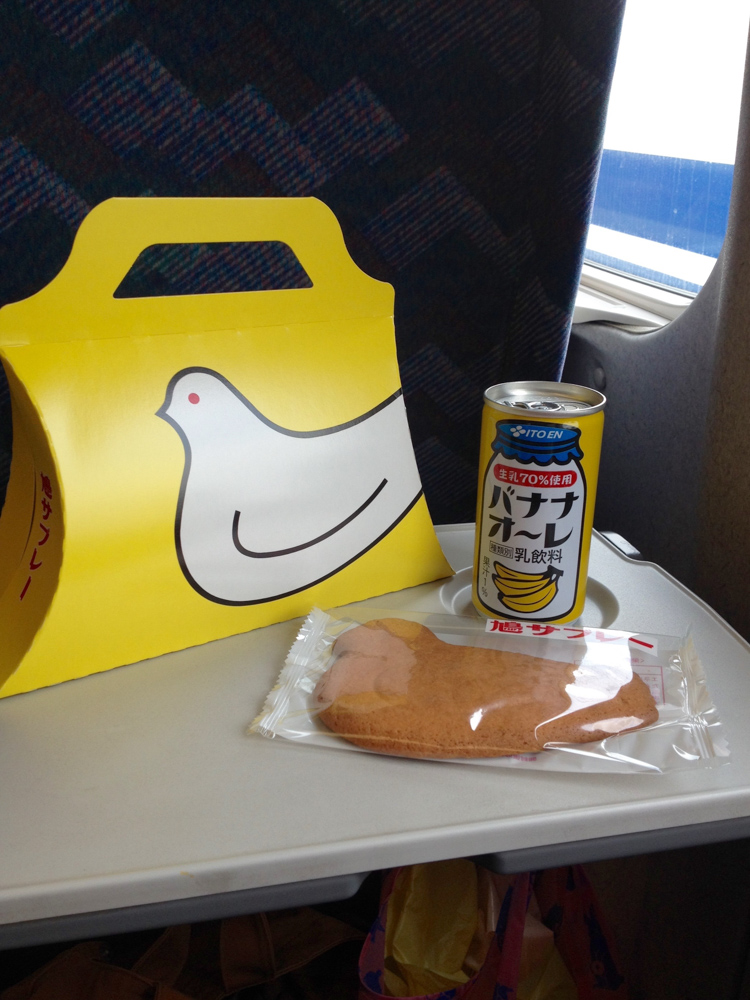 "Kamakura's famous ""Hato Sabure"" butter cookies and our favorite brand of banana milk."