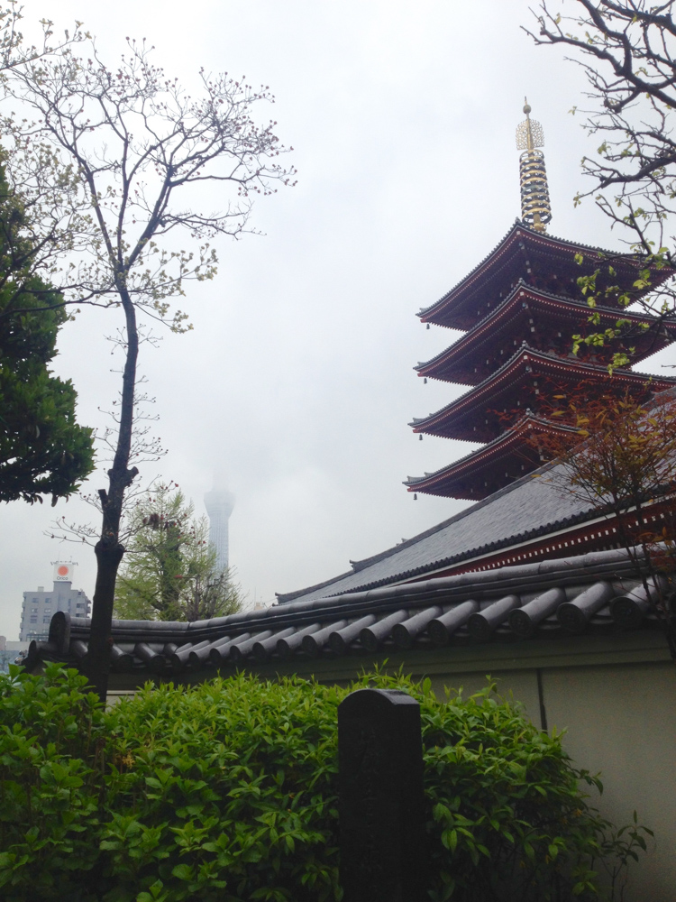 You can have a glimpse of Skytree on the left behind all the mist. It was an interesting contrast of old and new.