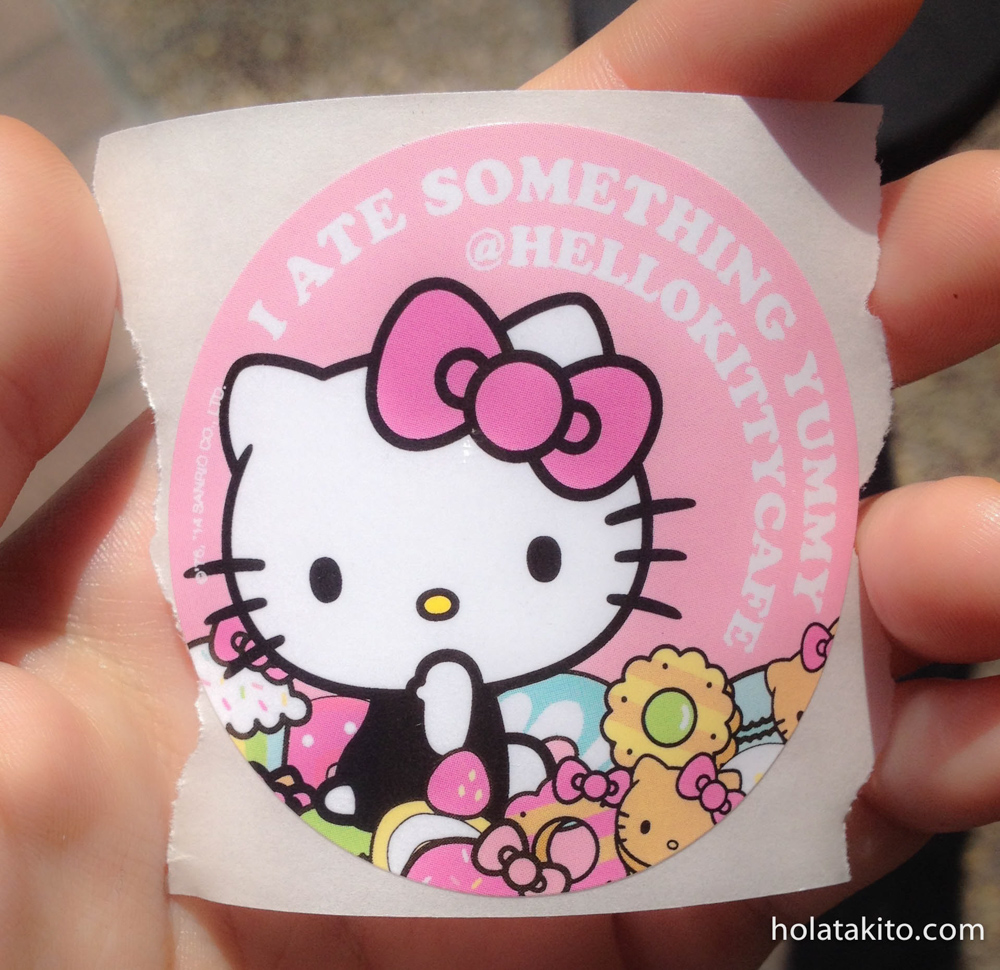 While waiting in line they gave you a little sticker and thanked you for coming to the cafe truck.