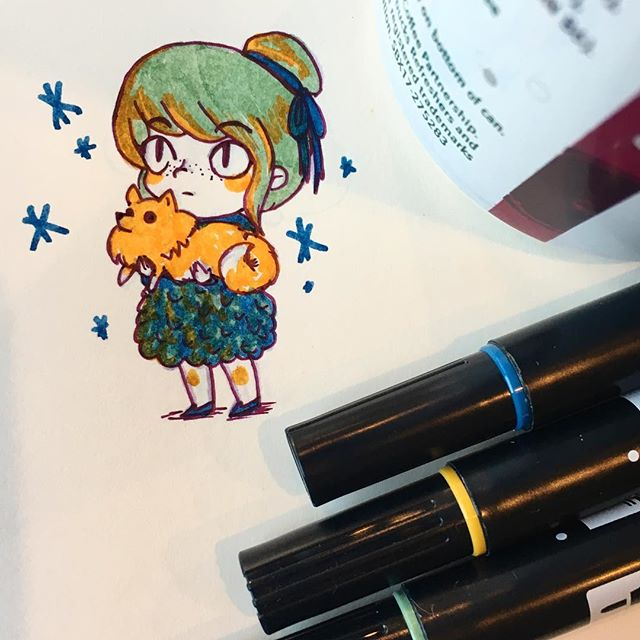 🌝Trying out new markers and paper at a café, after a couple of terrible sick days at home. One of my #2018 goals is to visit a new café at least every two weeks and make silly doodles while sipping on something. Anyone can join me in the #doodlecafe day thing!  #dog #doodle #cafe
