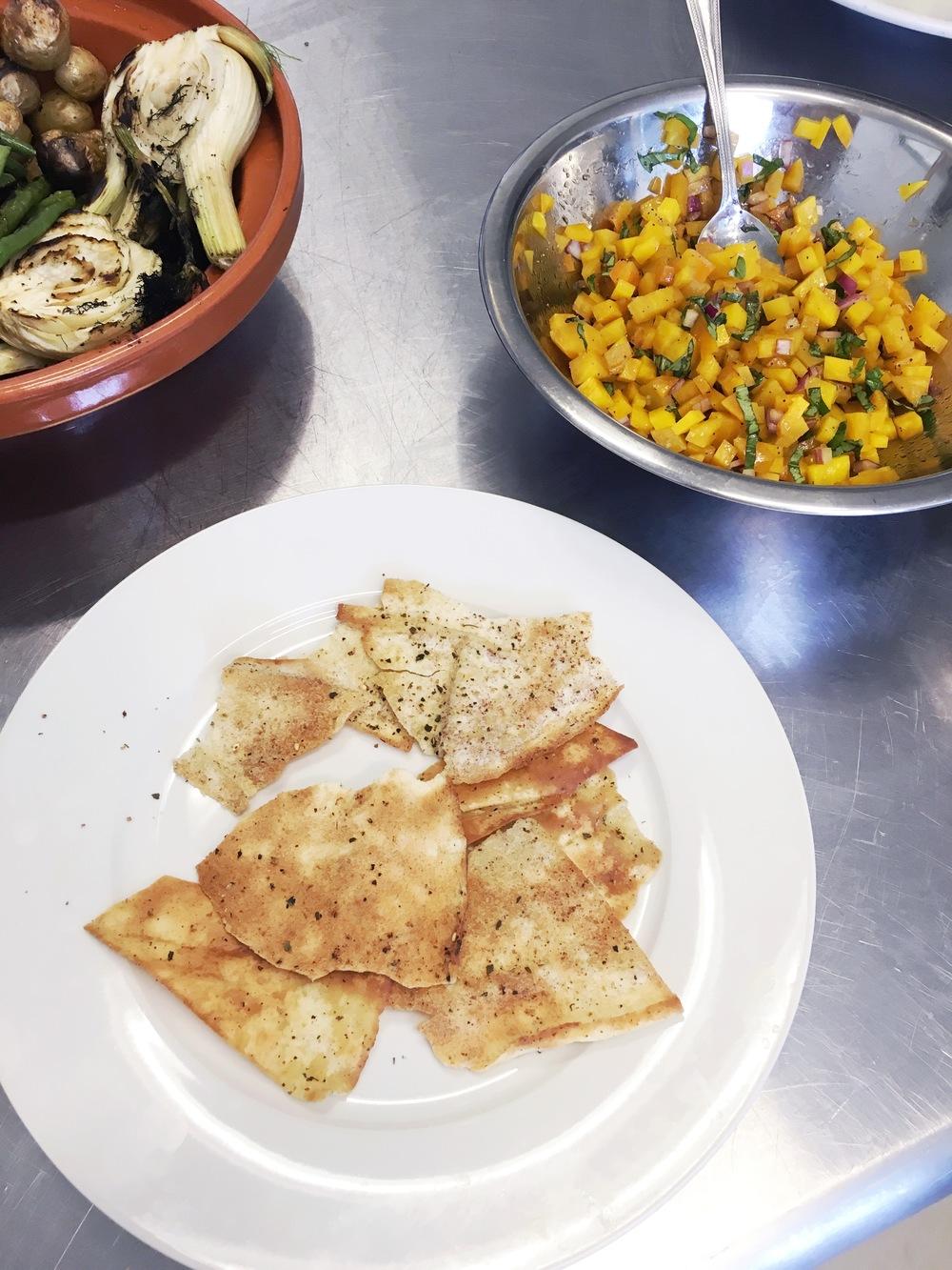 Yellow beet bruschetta on pita crisps. Roasted veggies with the super awesome plum sauce.